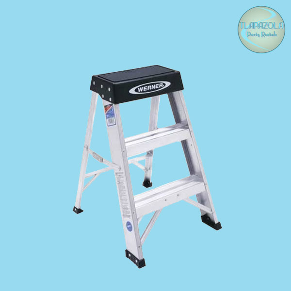 Aluminum 3 step stool rental from Tlapazola party rentals in the South Bay