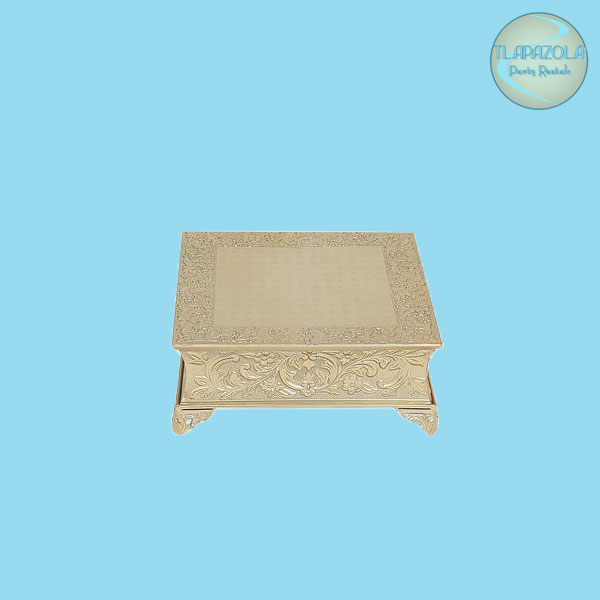 14 Inch Square Floral Nickel Plated Cake Stand Renal from Tlapazola Party Rentals LA