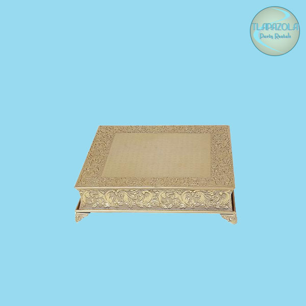 18 Inch Gold Nickel Plated Square Cake Stand Rentals at Tlapazola