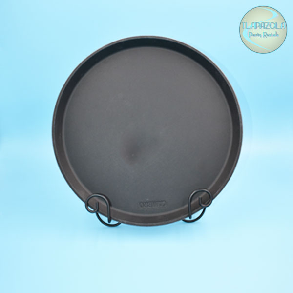 Round Black Serving Tray Rental in the Beverly Hills area from Tlapazola Party Rentals