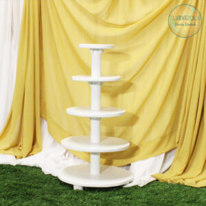 5 Tier White Wood cupcake stand rentals from Tlapazola Party Rentals in South Bay