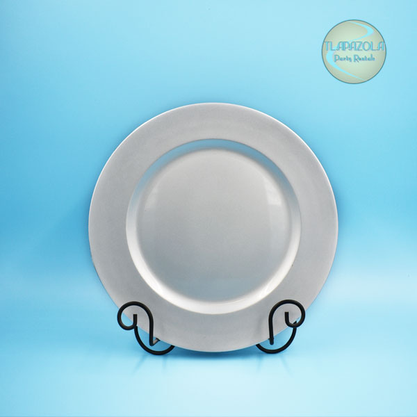 13 Inch Silver Plastic Charger Plate Party Rental Equipment in Los Angeles