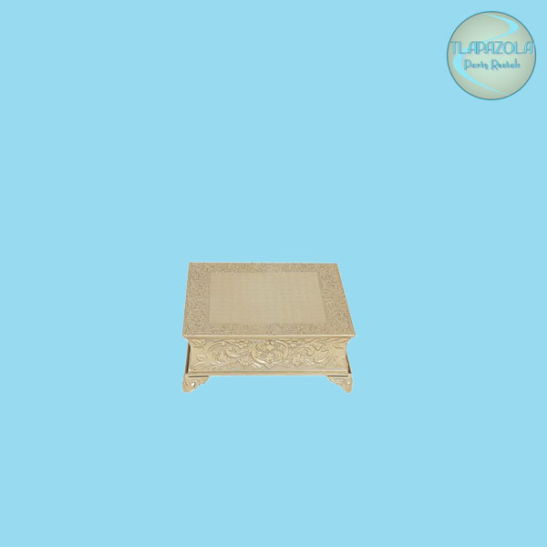 3 Inch Gold Nickel Plated Square Cake Stand Rentals from Tlapazola in Gardena
