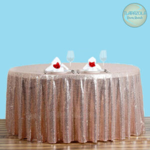 120 Inch Round Sequin Tablecloth rentals from Tlapazola in South Bay, Gardena