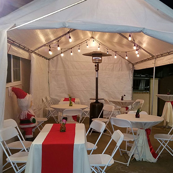 Tent 20 feet by 10 feet rental inside view from Tlapazola Party Rentals Gardena